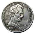 1918 LINCOLN / ILLINOIS COMMEMORATIVE HALF DOLLAR SILVER PLATED COPY COINS