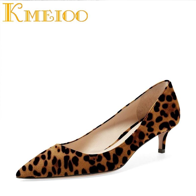 Kmeioo Women Leopard Pumps Pointed Toe Med Heels Slip On Kitten Heels Dress Shoes for Office Lady Soft Suede shofoo newest women shoes med heels pointed toe pumps for woman dress