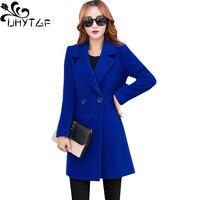UHYTGF Autumn Coat Women Imitation woolen Jacket Female Long Winter Coat Women Plus size Suit collar Woolen lady's Overcoats 662