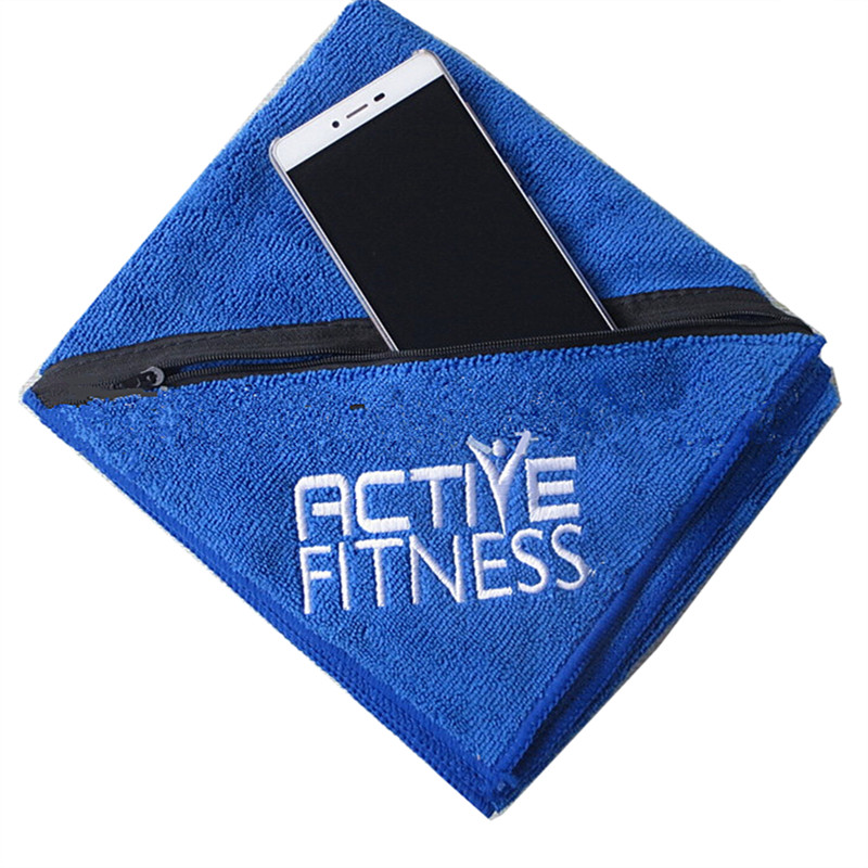 Zip Soft Microfiber Towel: 40X90CM Super Soft Microfibre Sports Gym Towel With Zipper
