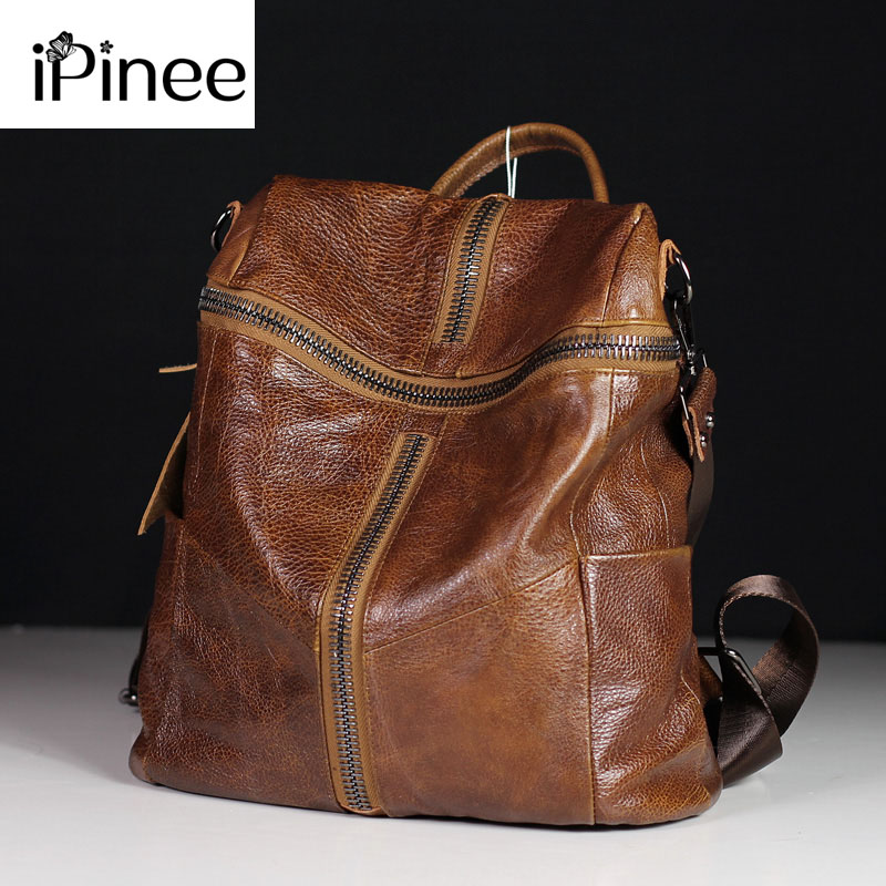 IPinee Fashion Designer Women Genuine Leather Backpack Shoulder School Bags For Teenagers Travel Cowhide Female Knapsack