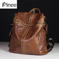 iPinee Fashion Designer Women Genuine Leather Backpack Shoulder School Bags for Teenagers Travel Cowhide Female Knapsack