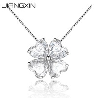 925 Sterling Silver Fine Jewelry Simulated Heart Diamond Pendant Necklace for Women Birthstone Lucky Four Leaf Clover