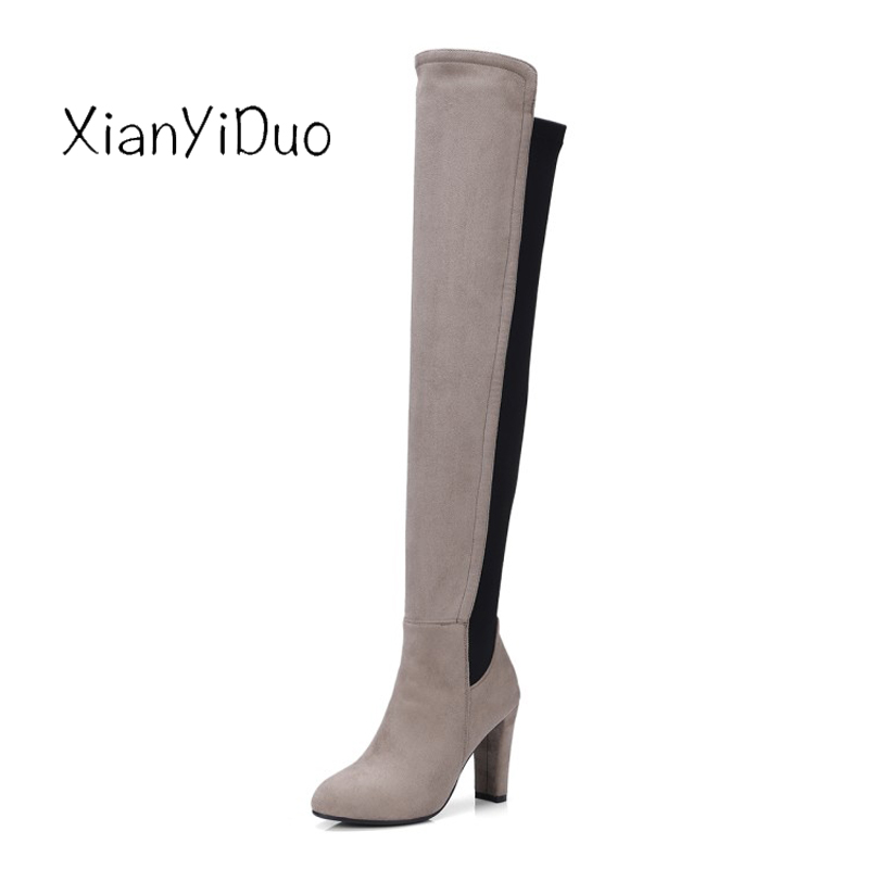 Xianyiduo Spr/Autumn Womens Shoes Over-the-Knee Thigh-high Boots Round Toe high Heels plus size34-43 Micro stretch shaft/355