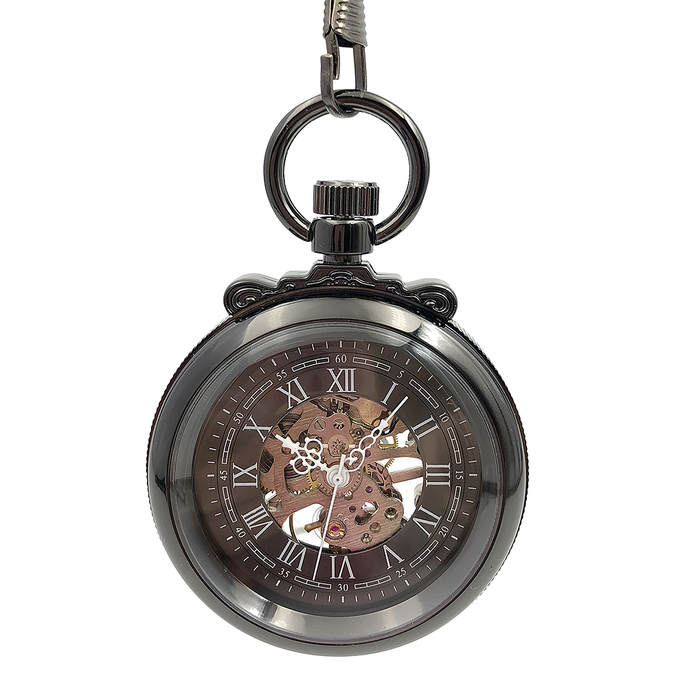 CAIFU Brand Skeleton Steampunk Open Face Black Case Roman Number Dial Mens Wind Up Mechanical Pocket Watch W/Chain Nice Gift