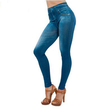 2017 hot selling women's slim leggings blue and black jean girls jeggings with 2 real pockets leggings