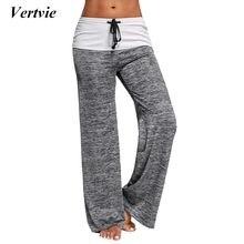 4b13decb9d2cdf Vertvie Marque Patchwork Boot Cut Pantalon Taille Haute Élastique Large  Jambe Pantalon Dentelle Up Remise En