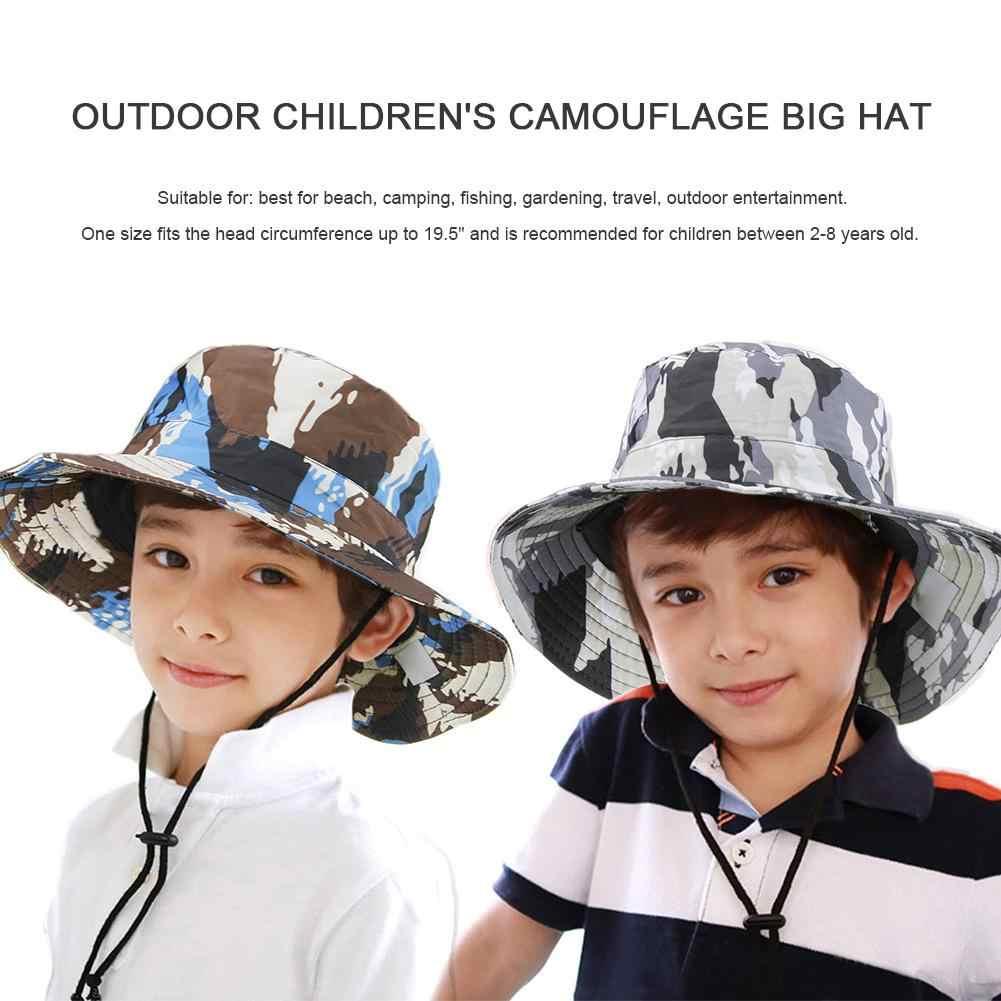 屋外子供の迷彩ビッグ帽子 UPF50 + 紫外線太陽プルーフ太陽の帽子バケツビッグのための男の子子供