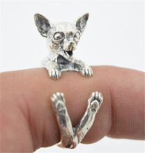 10pcs/lot Antique Silver Cute Chihuahua Dog Rings Adjustable Animal Rings for Women Lovely Jewelry Gift RONGQING-JZ004