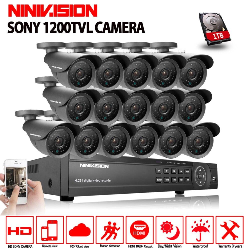 NINIVISION AHD CCTV System 16CH AHD 1080P CCTV DVR Kit HDMI 1080N 1200TVL IR Cameras Security System 16 channel CCTV NVR 1TB HDD цена