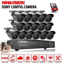 NINIVISION AHD CCTV System 16CH AHD 1080P CCTV DVR Kit HDMI 1080N 1200TVL IR Cameras Security System 16 channel CCTV NVR 1TB HDD