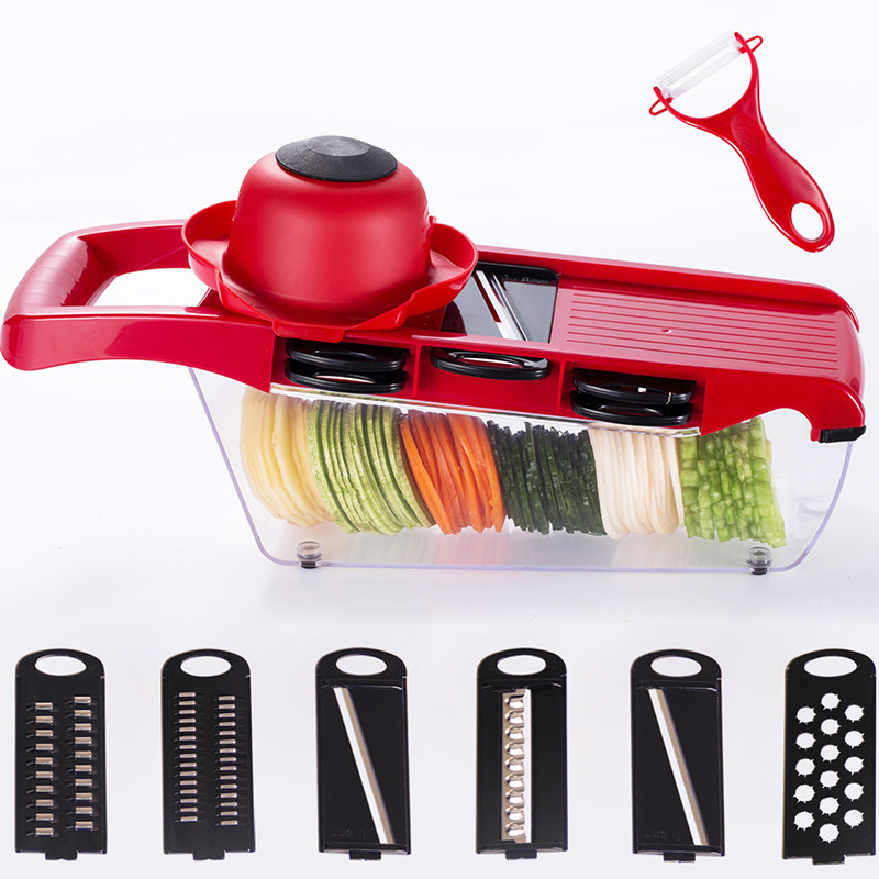 6 in 1 Kitchen Gadget Mandoline Vegetable Slicer Stainless Steel Cutting Vegetable Grater Creative Carrot Potato cutter