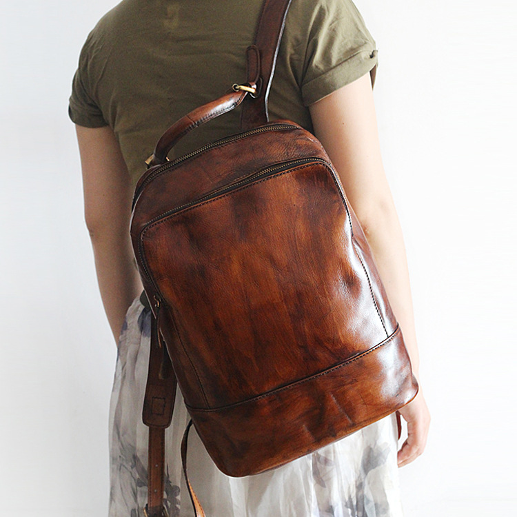 Genuine leather backpack hand coloring High capacity large cowhide vintage style solid color Travel knapsackGenuine leather backpack hand coloring High capacity large cowhide vintage style solid color Travel knapsack