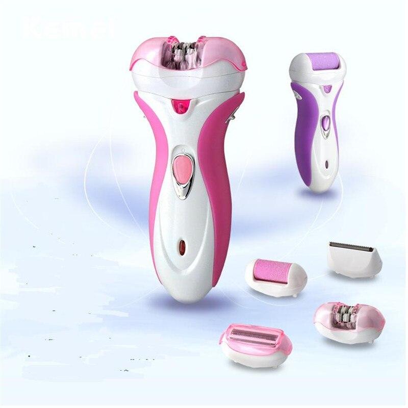 4 em 1 corpo ou biquíni depilador barbeador elétrico de barbear com senhora pés pele morta arquivo callus remover cuticle pusher