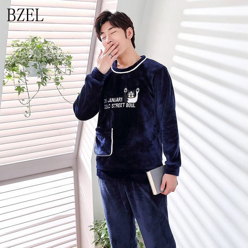 BZEL 2PCS Winter New Men's Pajamas Warm Flannel Pajamas Set Long Sleeve Caroset Sleepwear Flano Sleep Lounge Pijama Pyjama L-3XL