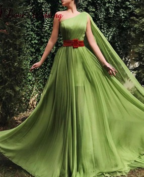New Arrival 2019 Green Chiffon Evening Dress Custom made A Line One Shoulder Formal Long Evening Gown