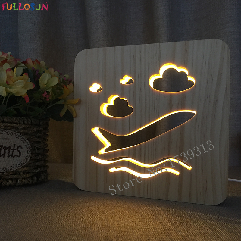 Novelty Wooden Lamp Airplane LED Warm Lamp USB Lights Decoration Night Lamp