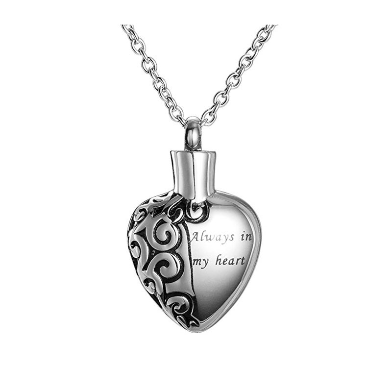 Stainless Steel Love Heart Necklace Memorial Cremation ...