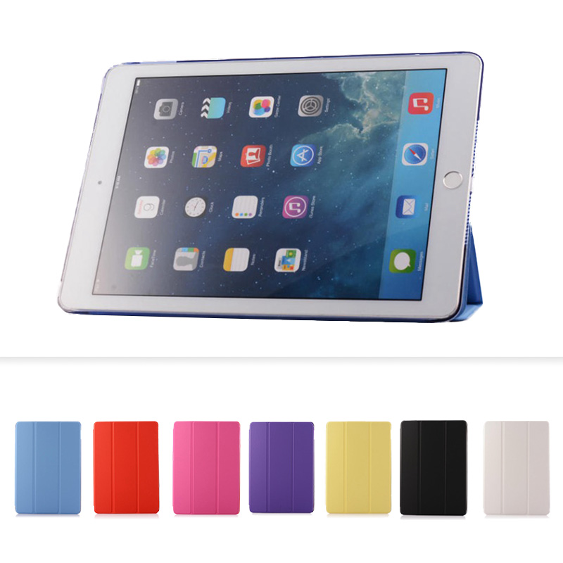 Case for IPad Air 2 PU Leather Front Cover+ Transparent Clear Back Cover Stand Color Case for IPad Air 2 for IPad 6 Folding Case