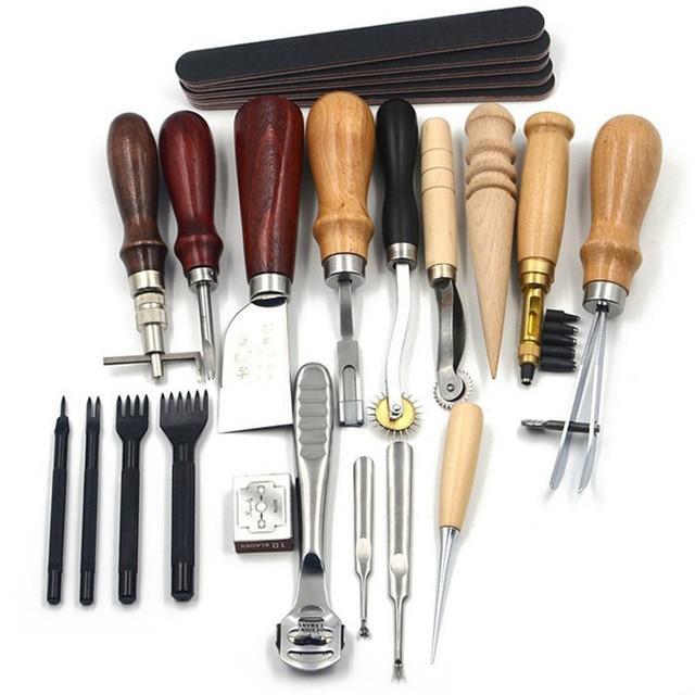 18 قطعة/المجموعة جلدية أدوات حرفية لكمة كيت خياطة نحت العمل الخياطة السرج الحفار ل DIY اليد جلدية العمل