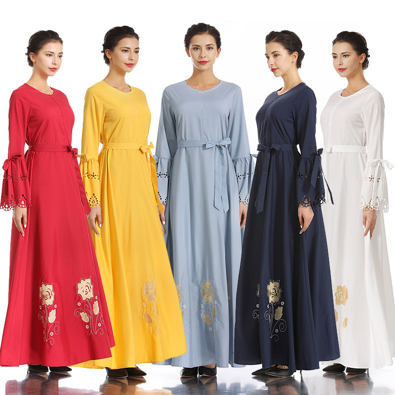 Brodé hijab robe Nation musulmane robe complète jupe Longuette Ash robe femme dinde elbise indonésie marocain eau abaya - 3
