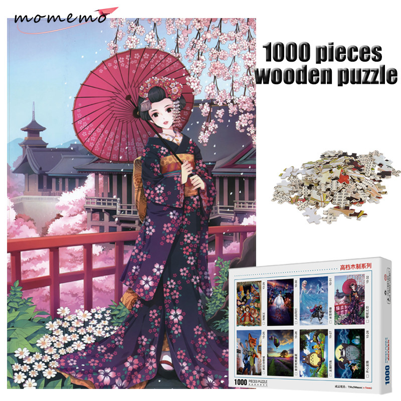 MOMEMO Japanese Maiden Wooden Puzzle 1000 Pieces Adult Entertainment Jigsaw Game Kids Toy Gift