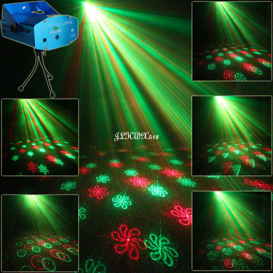 24 Patterns Mini R&G Moving Laser projector Club Bar lighting lights Dance Disco home party Xmas DJ Stage Light show N75Y24 laser stage lighting 48 patterns rg club light red green blue led dj home party professional projector disco dance floor lamp