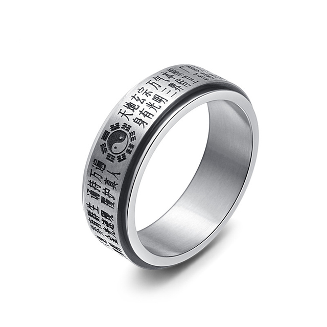 Italian Silver Color Jewelry Spinning Ring For Men Stainless Steel