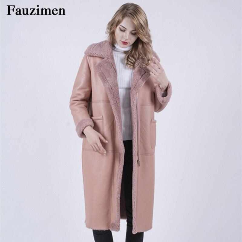 Outwear Fourrure Plus Femmes La De Épais Manteau Taille Chaud face Nouvelle D'hiver Double Veste D'agneau Parkas Parka Rose Longue znwBc1qOP