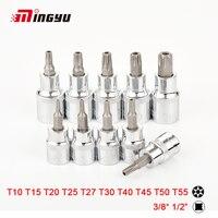 10 Uds Torx Socket 1/2 UNIDAD DE 3/8 pulgadas Star poco con hueco T10 T15 T20 T25 T27 T30 T40 T45 T50 T55 destornillador Bits