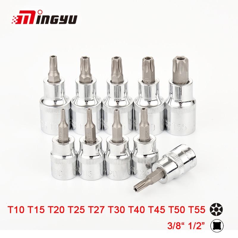 10 pcs Torx Bit Soquete 1/2 3/8 Polegada Drive Bit Estrela Com Oco T10 T15 T20 T25 T27 T30 T40 t45 T50 T55 Bits Chave de Fenda