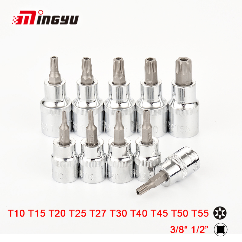 Tool Sets Hand Tool Sets 10pcs Torx Bit Socket 1/2 3/8 Inch Drive Star Bit With Hollow T10 T15 T20 T25 T27 T30 T40 T45 T50 T55 Screwdriver Bits Goods Of Every Description Are Available