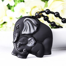 Drop Shipping Free Bead Curtain Natural Black Obsidian Elephant Necklace Pendant Crystal Stone Transhipped Pendants jewelry gift