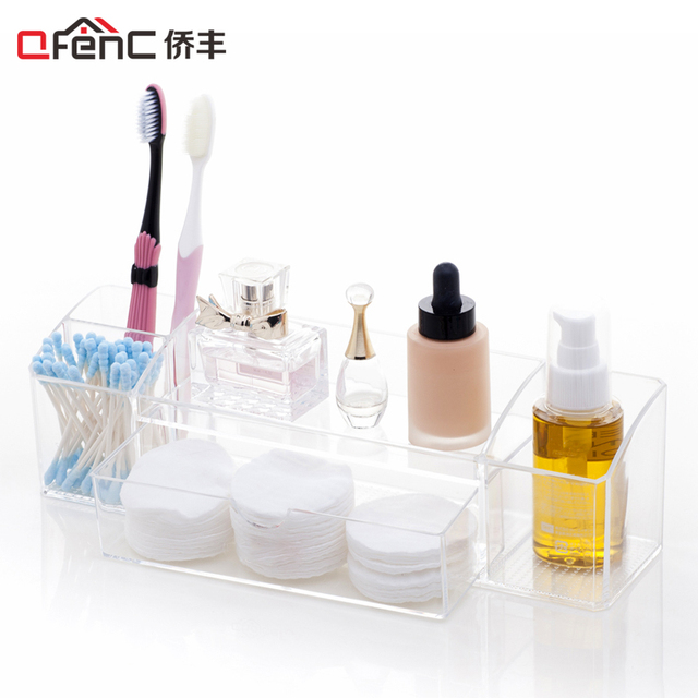Qfenc Clear Med Bathroom Organizer Toothbrush Holder Makeup Cotton Swab With One Drawer