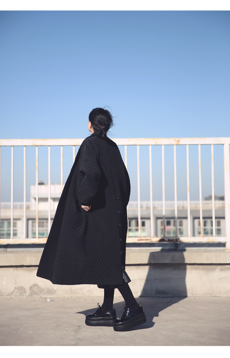 European and American Big Brand Long Loose Black Windbreaker Long Trench Coat for Women 4