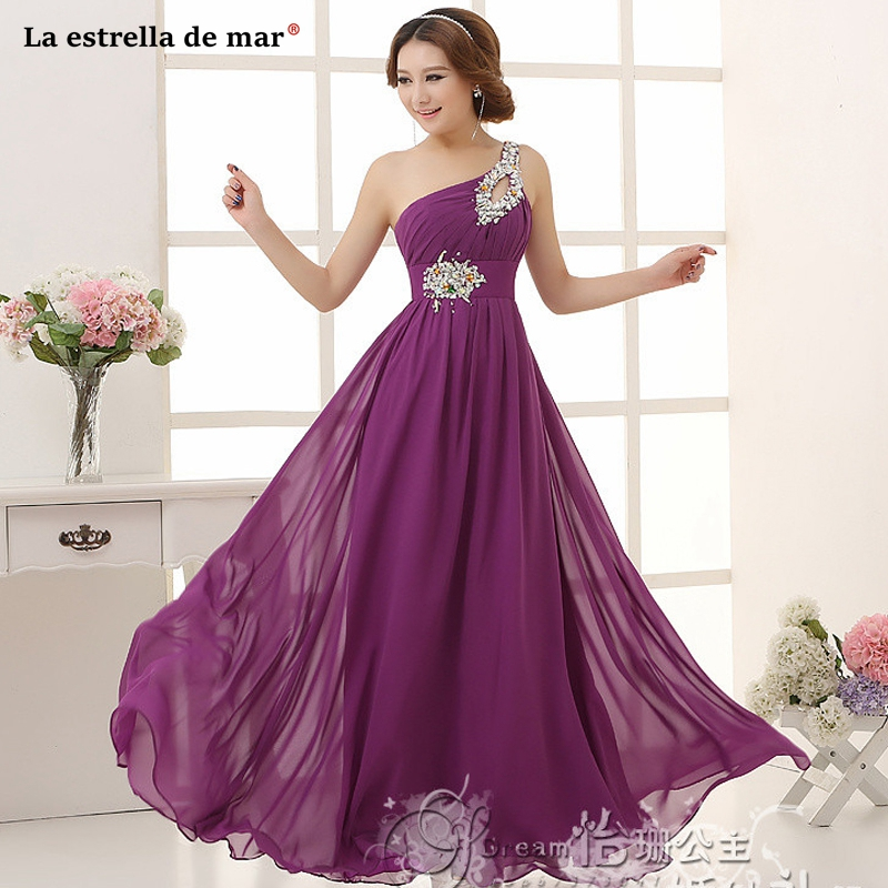 Robe demoiselle d'honneur2019 new chiffon one shoulder A Line purple royal blue pink green   bridesmaid     dresses   long wedding party