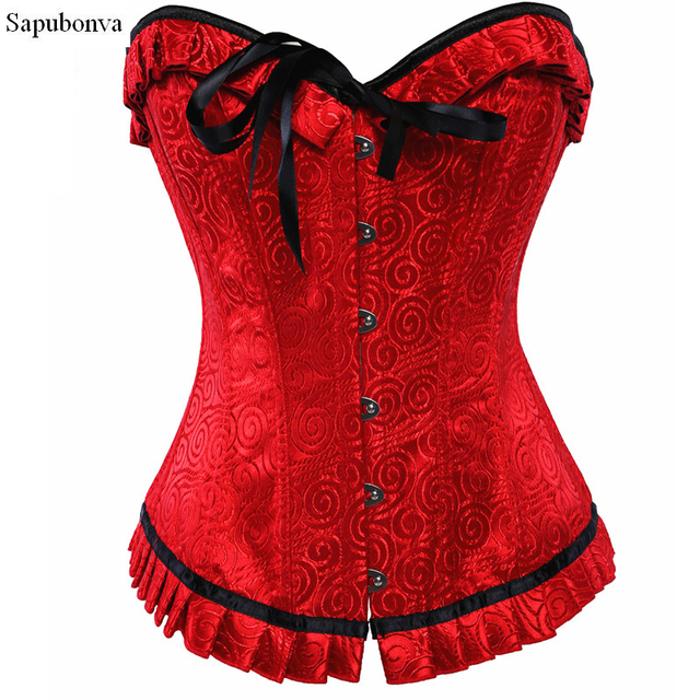 21e015286f1 Lace up gothic corsets for women print vintage corset bustier tops corselet overbust  red korsett clothing basque lingerie
