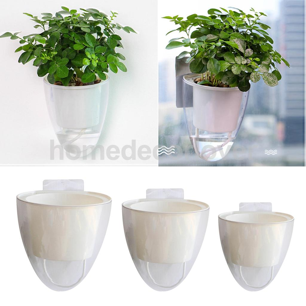 Magideal White Wall Hanging Self Watering Plant Flower Pot Plastic Planter Succulent Pots Seedling Container
