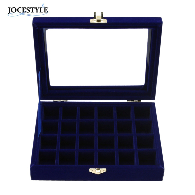 Velvet Jewelry Carrying Box with Glass Cover Earring Necklace Jewelry Display Box Tray Holder Storage Box 2017 Newest Royal Blue