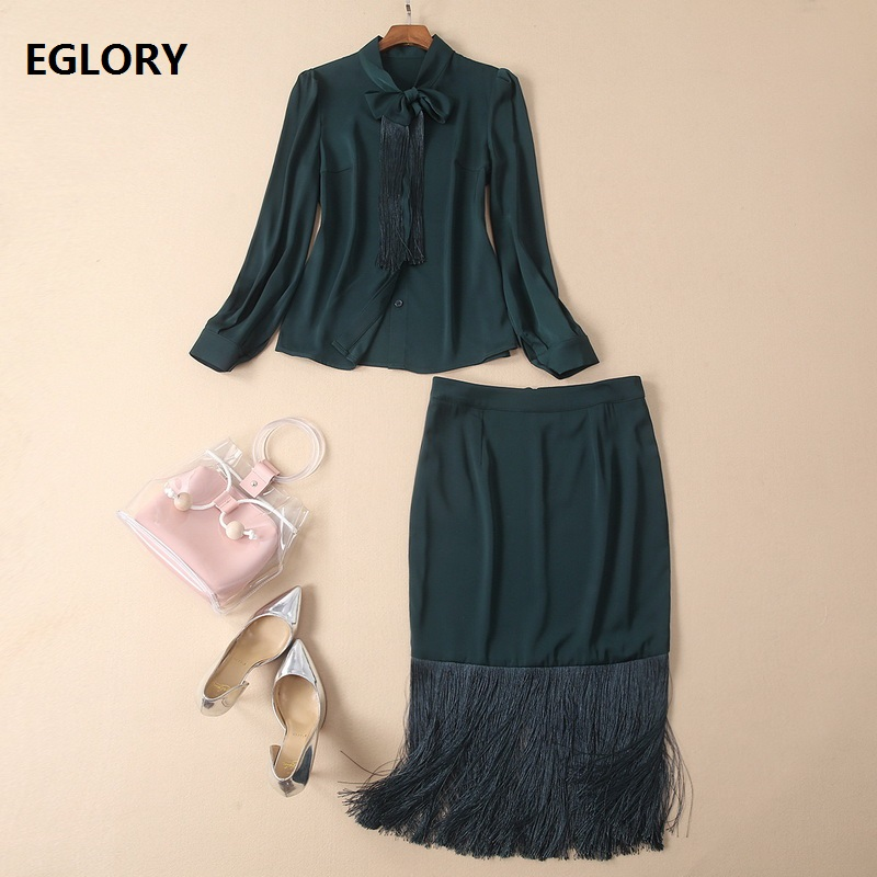 Top Quality Designer Clothing Suits Women Bow Collar Long Sleeve Shirts+Tassel Bodycon Midi Pencil Skirt Sets Elegant Work Suits
