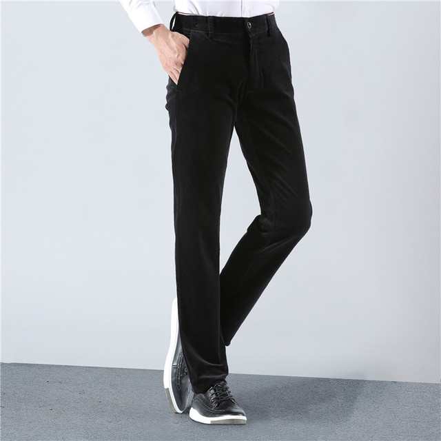 2018 New Brand Spring Winter Mens Corduroy Pants Business Casual Men Trousers Stretch Khaki Black Pants For Men High Quality 1