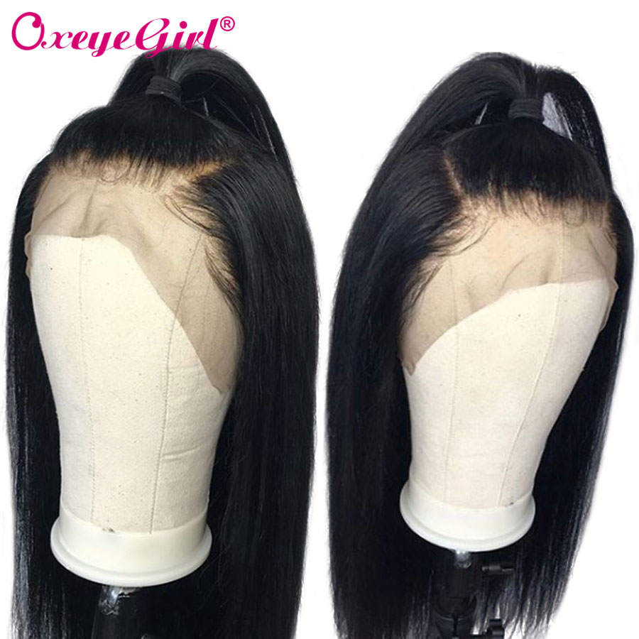 Glueless Full Lace Mänskliga Hårperor Med Babyhår Brazilian Straight Hair Paryk För Kvinnor Remy Hair Natural Black Oxeye Girl