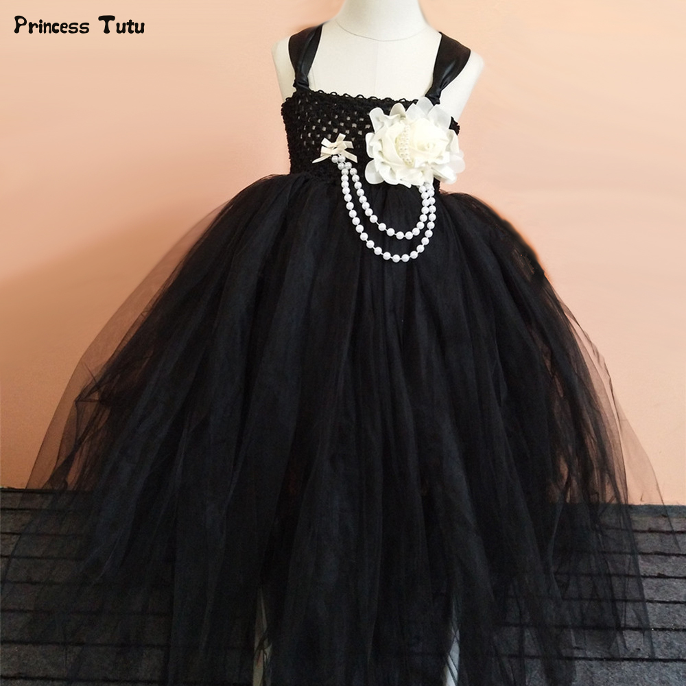 купить Flower Girl Tutu Dress Black,Gray,Blue Wedding Girls Tulle Party Dress Princess Pageant Ball Gowns Kids Dresses for Girls 1-14Y дешево