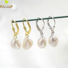 Flyleaf 925 Sterling Silver Nature Real Pearl Drop Earrings For Women Simple 18k Gold Fashion Jewelry High Quality  Ins Style