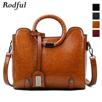 Rodful vintage messenger bag women's shoulder bag oil leather handbag ladies brown wine cross body bags for women bolsa feminina