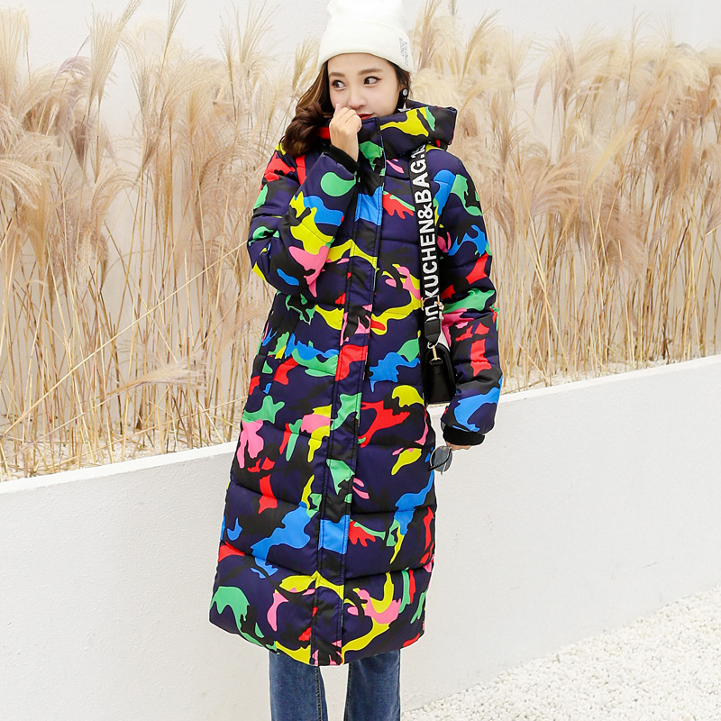 Mandadi 2018 Winter Jacket Women  Casual Print Long Parkas Winter Coat Women Abrigo Mujer Hooded Cotton Padded Outwear Coats