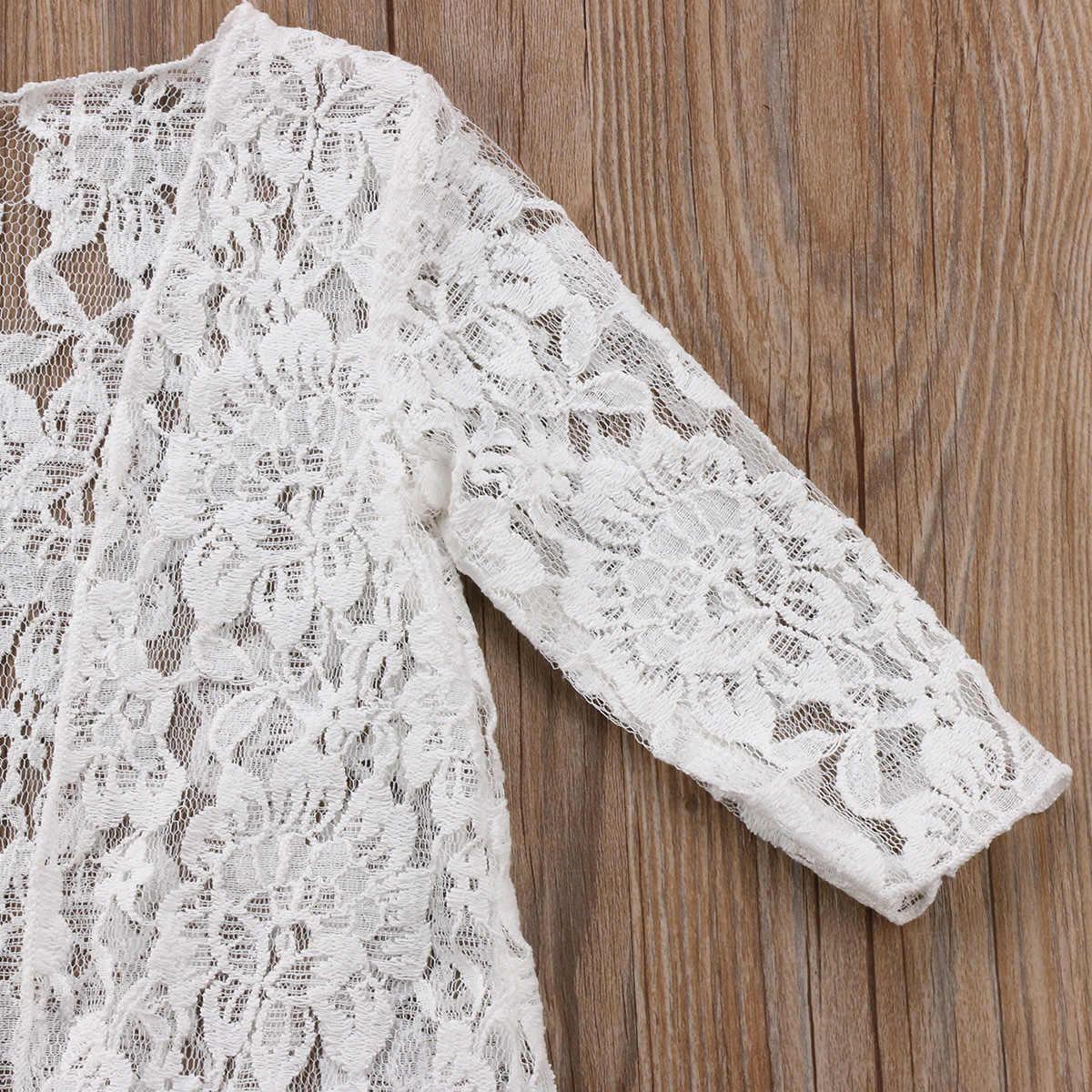 Fashion Anak-anak Bayi Perempuan Renda Bunga tabir surya Renda Putih Lengan Panjang Gaun Rashguard Pakaian Pakaian Luar Parit