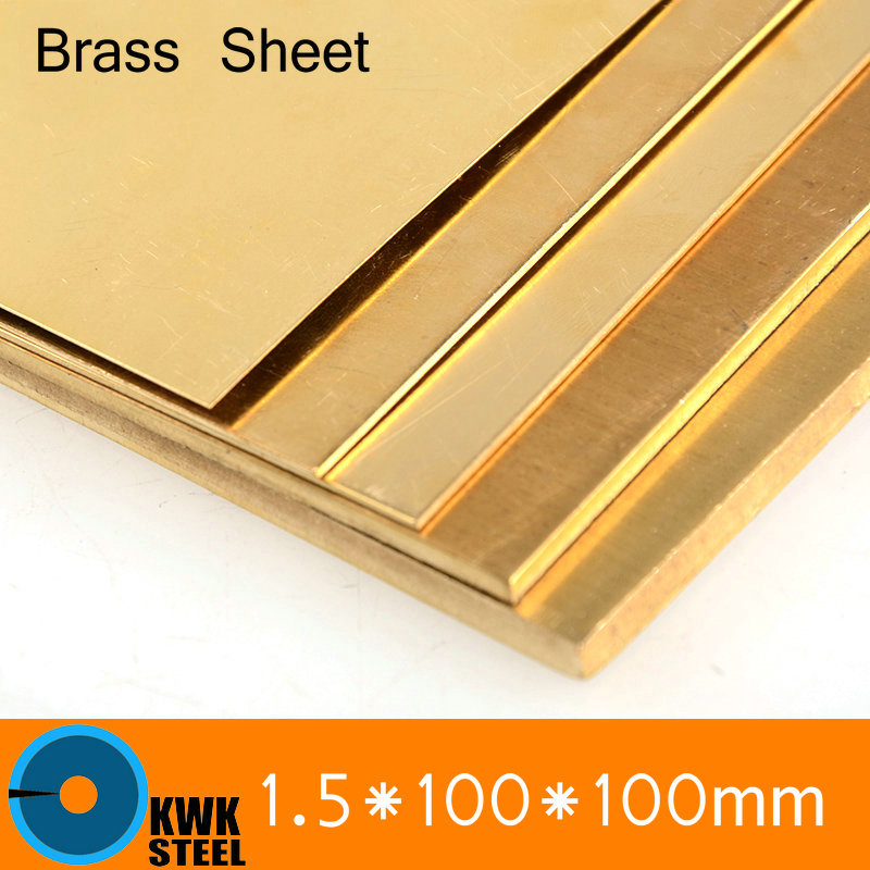 1.5 * 100 * 100mm Brass Sheet Plate Of CuZn40 2.036 CW509N C28000 C3712 H62 Customized Size Laser Cutting NC Free Shipping