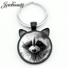JOINBEAUTY Vintage Charm Raccoon Keychain Wild Animal Raccoon Glass Dome Ear Keychain Ring Holder Men Women Car Jewelry CN140(China)