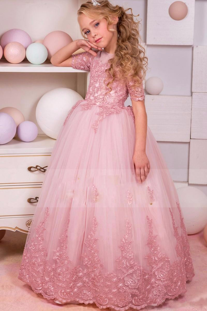 Beauty Applique Lace Flower Girls Dresses With Sleeves Princess Beauty Girls Pageant Gowns 2018 2016 beauty hj weave beauty cheap peruvian lace frontal closure 100